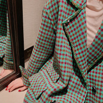 woolen coat Spring 2021 S,M,L green polyester 31% (inclusive) - 50% (inclusive) Medium length Long sleeves street double-breasted routine tailored collar lattice Straight cylinder lian204911 25-29 years old Drill, rivet, cloth, bead Solid color nylon Imitation fabric Europe and America