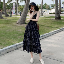 Women's large Summer 2021 Black, white S [80-95 Jin], m [95-105 Jin], l [105-115 Jin], XL [115-125 Jin], 2XL [125-135 Jin], 3XL [135-145 Jin], 4XL [145-160 Jin] Dress singleton  commute easy moderate Socket Sleeveless Dot Korean version V-neck Medium length other 91% (inclusive) - 95% (inclusive)