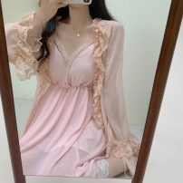 Pajamas / housewear set female Other / other Large XL, large 2XL, large 3XL, large 4XL Pink two piece set other Long sleeves Sweet Leisure home spring V-neck Solid color 2 pieces 41% (inclusive) - 60% (inclusive) lace Middle-skirt