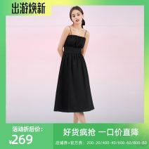 Dress Summer 2020 black Mid length dress singleton  Short sleeve commute square neck Elastic waist Solid color Socket A-line skirt other 25-29 years old Type A one more Korean version fold More than 95%