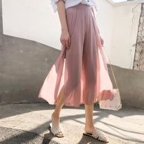 Casual pants S,M,L,XL,2XL Summer 2020 Cropped Trousers Wide leg pants High waist Versatile Thin money 81% (inclusive) - 90% (inclusive) Other / other