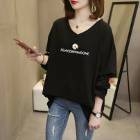 T-shirt Spring 2021 Long sleeves V-neck easy Regular routine commute cotton 96% and above 18-24 years old Korean version originality Cartoon animation printing