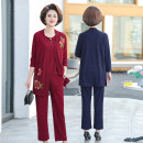 Middle aged and old women's wear Spring 2021, autumn 2021 motion shirt easy Three piece set Decor Over 60 years old Socket moderate other routine routine Button other 96% and above Single breasted trousers