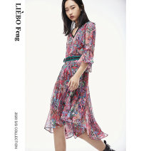 Dress Summer 2020 Decor S M L Mid length dress singleton  Short sleeve Sweet V-neck Decor other other Others 25-29 years old cut silk into pieces for writing letters More than 95% polyester fiber Polyester 100% Mori