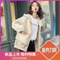 short coat Spring of 2019 M for 106-120 kg, XL for 136-160 kg, s for 80-105 kg, l for 121-135 kg Black, beige Long sleeves routine routine singleton  Straight cylinder commute routine stand collar zipper Solid color 25-29 years old Other / other Splicing other