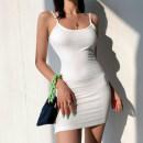 Dress Summer 2021 Black, white, purple, blue, milky coffee S, M Short skirt singleton  Sleeveless street High waist Solid color Socket camisole Type H five point one one