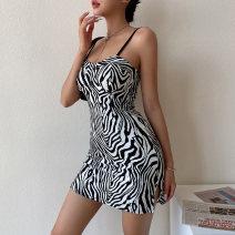 Dress Summer 2021 Zebra pattern S,M,L Short skirt singleton  Sleeveless street High waist Zebra pattern Socket camisole backless nine point two one Europe and America