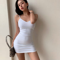 Dress Summer 2021 white , black , dark grey , Light blue , deep purple , Rust red S,M,L Short skirt singleton  Sleeveless street V-neck Solid color Socket camisole thread seven point two two 51% (inclusive) - 70% (inclusive) other Europe and America