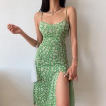 Dress Summer 2021 Green Daisy S,M,L Mid length dress singleton  Sleeveless street Broken flowers Socket A-line skirt camisole Type A six point one zero 51% (inclusive) - 70% (inclusive) other