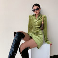 Dress Spring 2021 Black, olive green S,M,L Short skirt singleton  Long sleeves street Polo collar High waist Solid color Single breasted A-line skirt routine Others Type A Button eleven point one one Europe and America