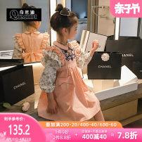 Dress Orange powder black spot female QMD / chimedi 110cm 120cm 130cm 140cm 150cm 160cm Other 100% spring and autumn princess Skirt / vest other other Vest skirt 21-14536 Class B Spring 2021 Chinese Mainland