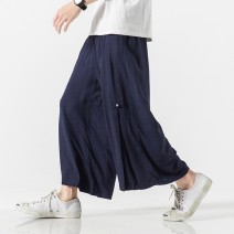 Casual pants Others Youth fashion Black, Navy, grey M,L,XL,2XL,3XL,4XL,5XL thin Ninth pants Other leisure easy No bullet summer youth Chinese style 2020 middle-waisted Straight cylinder Sports pants Button decoration washing Solid color plain cloth cotton cotton Non brand More than 95%