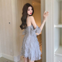 Dress Spring 2021 Champagne, blue grey S,M,L Short skirt singleton  commute High waist Solid color Socket camisole 18-24 years old Type A Korean version Mesh, stitching