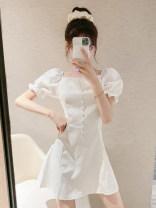 Dress Summer 2020 White, black S,M,L Short skirt singleton  Short sleeve commute High waist Solid color 18-24 years old Korean version