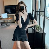 Dress Summer 2021 Red, black S,M,L,XL Short skirt singleton  Short sleeve commute V-neck High waist Solid color Ruffle Skirt routine 18-24 years old Korean version Ruffles, ruffles cotton