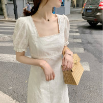 Dress Summer 2021 White (short), white (long) XS,S,M,L Mid length dress singleton  Short sleeve commute square neck middle-waisted Solid color 18-24 years old Korean version