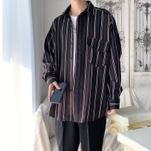 shirt Youth fashion Others S. M, l, XL, 2XL, 3XL, XS plus small, 4XL, 5XL Black, green routine square neck Long sleeves easy Other leisure autumn teenagers tide 2020 stripe polyester fiber More than 95%