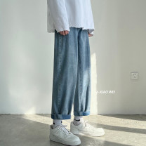 Jeans Youth fashion Others S. M, l, XL, 2XL, XS plus small Light blue, dark blue routine Micro bomb Regular denim Ninth pants Other leisure Four seasons teenagers Loose straight tube 2021 Little straight foot zipper
