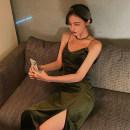 Dress Autumn 2020 Black, Wizard of Oz green S,M,L Mid length dress singleton  Sleeveless commute V-neck High waist Solid color zipper A-line skirt camisole Type A Retro Pleating K02695