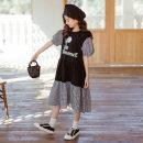 Dress black female Other / other 120cm,130cm,140cm,150cm,160cm,165cm Other 100% summer Korean version Short sleeve lattice cotton A-line skirt Class B Five, six, seven, eight, nine, ten, twelve, thirteen, fourteen