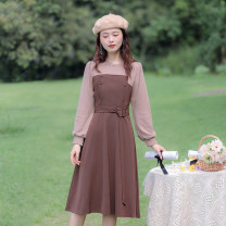 Dress Spring 2021 coffee XS,S,M,L longuette singleton  Long sleeves commute Crew neck High waist Solid color Socket A-line skirt routine camisole 18-24 years old Type A Allyn tune / Arlene's Retro Button More than 95% knitting polyester fiber
