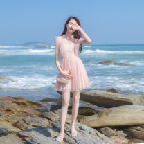Dress Summer 2021 Pink XS,S,M,L Short skirt singleton  Sleeveless commute Doll Collar High waist Solid color zipper A-line skirt other Others 18-24 years old Type A Allyn tune / Arlene's Simplicity Gauze HZ2019020226 More than 95% other other