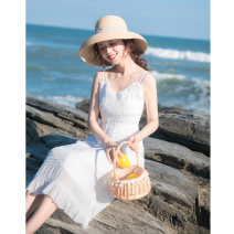 Dress Summer 2021 white XS,S,M,L longuette singleton  Sleeveless commute V-neck High waist Solid color zipper A-line skirt routine camisole 18-24 years old Type A Allyn tune / Arlene's Simplicity A0082 More than 95% other other