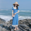 Dress Summer 2021 blue XS,S,M,L longuette singleton  Short sleeve commute square neck High waist Solid color zipper A-line skirt bishop sleeve Others 18-24 years old Type A Allyn tune / Arlene's Retro Lace up, stitching, zipper, lace More than 95% Chiffon other