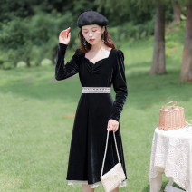 Dress Spring 2021 black XS,S,M,L longuette singleton  Long sleeves commute square neck High waist Solid color Socket A-line skirt routine Others 25-29 years old Type A Allyn tune / Arlene's Retro zipper More than 95% corduroy polyester fiber
