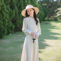 Dress Spring 2021 Apricot XS,S,M,L longuette singleton  Long sleeves commute Polo collar High waist Solid color zipper A-line skirt routine Others 25-29 years old Type A Allyn tune / Arlene's Retro More than 95% other polyester fiber
