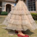 skirt Spring 2021 S,M,L,XL Black bow top , Champagne skirt Mid length dress commute High waist Cake skirt Solid color Type A 18-24 years old 31% (inclusive) - 50% (inclusive) cotton Korean version