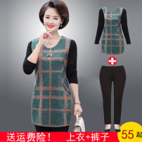 Middle aged and old women's wear Spring 2020 It is suggested that the size of the XL should be 120-40kg, and it is suggested that the size of the xl-40kg should be 120-40kg fashion T-shirt easy singleton  lattice 40-49 years old Socket moderate Crew neck routine routine QCZ-T19130 pocket Long sleeves
