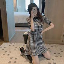 Dress Summer 2021 Plaid Dress S,M,L,XL Short skirt singleton  Short sleeve commute Crew neck High waist lattice A-line skirt routine Others Type A Korean version 81% (inclusive) - 90% (inclusive) polyester fiber