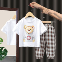 suit Dada warwa khaki 90cm 100cm 110cm 120cm 130cm female summer leisure time Short sleeve + pants 2 pieces Thin money No model Socket nothing Cartoon animation other children Learning reward other Other 100% Summer 2021