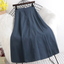 skirt Summer 2021 Average size Apricot, blue, gray, black longuette Versatile High waist A-line skirt Solid color Type A 18-24 years old other Paintings other Button 201g / m ^ 2 (including) - 250G / m ^ 2 (including)
