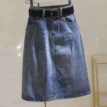 skirt Summer 2021 S,M,L,XL,2XL blue longuette Versatile High waist Denim skirt Solid color Type A 25-29 years old 51% (inclusive) - 70% (inclusive) Denim Other / other cotton Pockets, chains, buttons