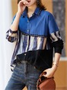 Women's large Spring 2021 It's blue, black, black, blue Large XL, large XXL, large XXL, large XXXXL, large L, large M shirt singleton  commute easy moderate Cardigan Long sleeves shape Polo collar routine cotton Three dimensional cutting shirt sleeve 1ks Plain wood 35-39 years old Lace stitching