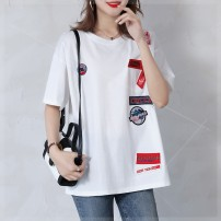 Women's large Summer 2021 Black, white Large XL, large XXL, large XXL, large XXXXL, large L, large M T-shirt singleton  commute easy moderate Socket Short sleeve letter Crew neck Medium length cotton Collage routine gb1 Plain wood 35-39 years old Three dimensional decoration