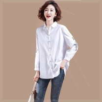 Women's large Autumn 2020 white Large XL, large XXL, large XXL, large L shirt singleton  commute easy moderate Cardigan Long sleeves other Polo collar routine cotton Three dimensional cutting routine tgz Clothing music 35-39 years old Embroidery 81% (inclusive) - 90% (inclusive)