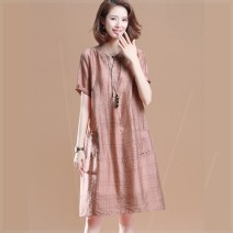 Women's large Summer 2020 Big XL, big XXL, big XXL, big L, big M Dress Two piece set commute easy moderate Socket Short sleeve Solid color V-neck polyester Three dimensional cutting routine Plain wood 35-39 years old pocket 81% (inclusive) - 90% (inclusive) Medium length