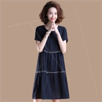 Women's large Summer 2020 blue Large XL, large XXL, large XXL, large XXXXL, large L, large M Dress singleton  commute easy moderate Socket Short sleeve Crew neck cotton Three dimensional cutting routine Plain wood 71% (inclusive) - 80% (inclusive) Medium length