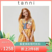 Dress Spring 2020 yellow 155/34 160/36 165/38 170/40 Mid length dress 25-29 years old tanni TJ11DR803A 71% (inclusive) - 80% (inclusive) cotton Cotton 72% Silk 28% Same model in shopping mall (sold online and offline)