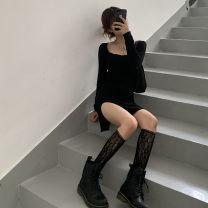 Women's large Spring 2021 black Large L, large XL, m, 2XL, 3XL, 4XL Dress singleton  moderate Socket Solid color 18-24 years old Short skirt