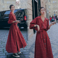 Women's large Spring 2021 Picture color Big L, big XL, big 4XL, big 3XL, big 2XL, big M Dress commute lattice 25-29 years old Three dimensional decoration 51% (inclusive) - 70% (inclusive) longuette