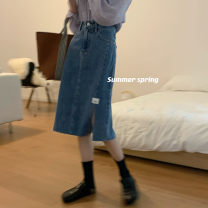 skirt Summer 2021 S,M,L Retro Blue Mid length dress gorgeous High waist Denim skirt Type A 18-24 years old Denim cotton