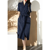 Dress Spring 2021 Navy blue S,M,L,XL,2XL longuette singleton  Short sleeve commute Polo collar middle-waisted Solid color Single breasted other Others Type H Other / other Ol style 91% (inclusive) - 95% (inclusive) other