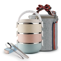 Lunch box / heat preservation bucket / heat preservation pan A30037-3 Metal Chinese Mainland Three layer three layer + felt bag + tableware delivery three layer lunch box three layer lunch box + felt bag + tableware delivery Worthbuy 3 layers Self made pictures Above 2L Nordic style