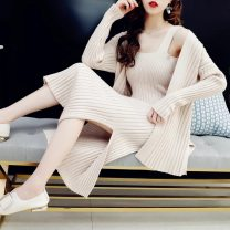 sweater Autumn of 2019 Average size [recommended 80-140 kg] Off white, khaki, black, temperament blue, fruit green Long sleeves Two piece set Medium length other 51% (inclusive) - 70% (inclusive) Regular commute routine Solid color Straight cylinder Regular wool Keep warm and warm