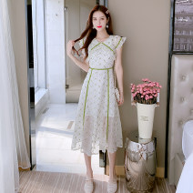 Dress Summer 2021 Light green S,M,L,XL Miniskirt Two piece set elbow sleeve commute V-neck High waist Solid color Socket Princess Dress puff sleeve Others 18-24 years old Type A 31% (inclusive) - 50% (inclusive) Chiffon other