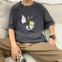 T-shirt Youth fashion Black, blue, yellow, gray routine S,M,L,XL,2XL,3XL Tagkita / she and others elbow sleeve Crew neck easy daily summer youth Off shoulder sleeve tide 2020 Cartoon animation printing Cartoon animation tto